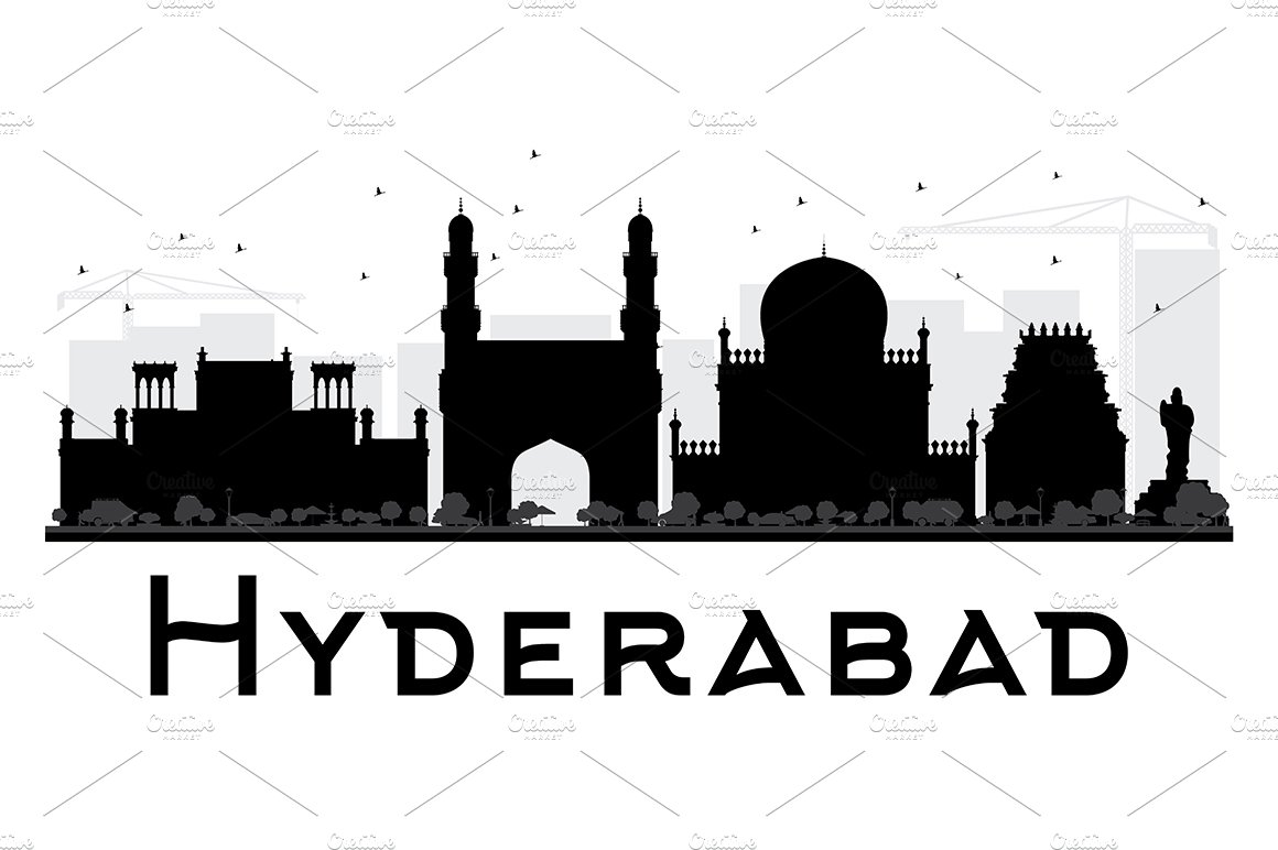 Hyderabad City Skyline Silhouette Illustrations