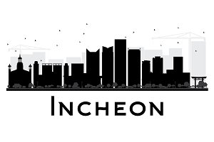 Incheon City Skyline Silhouette