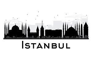 Istanbul City Skyline Silhouette
