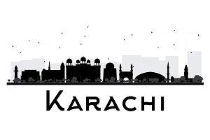 Karachi City Skyline Silhouette
