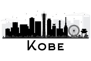 Kobe City Skyline Silhouette