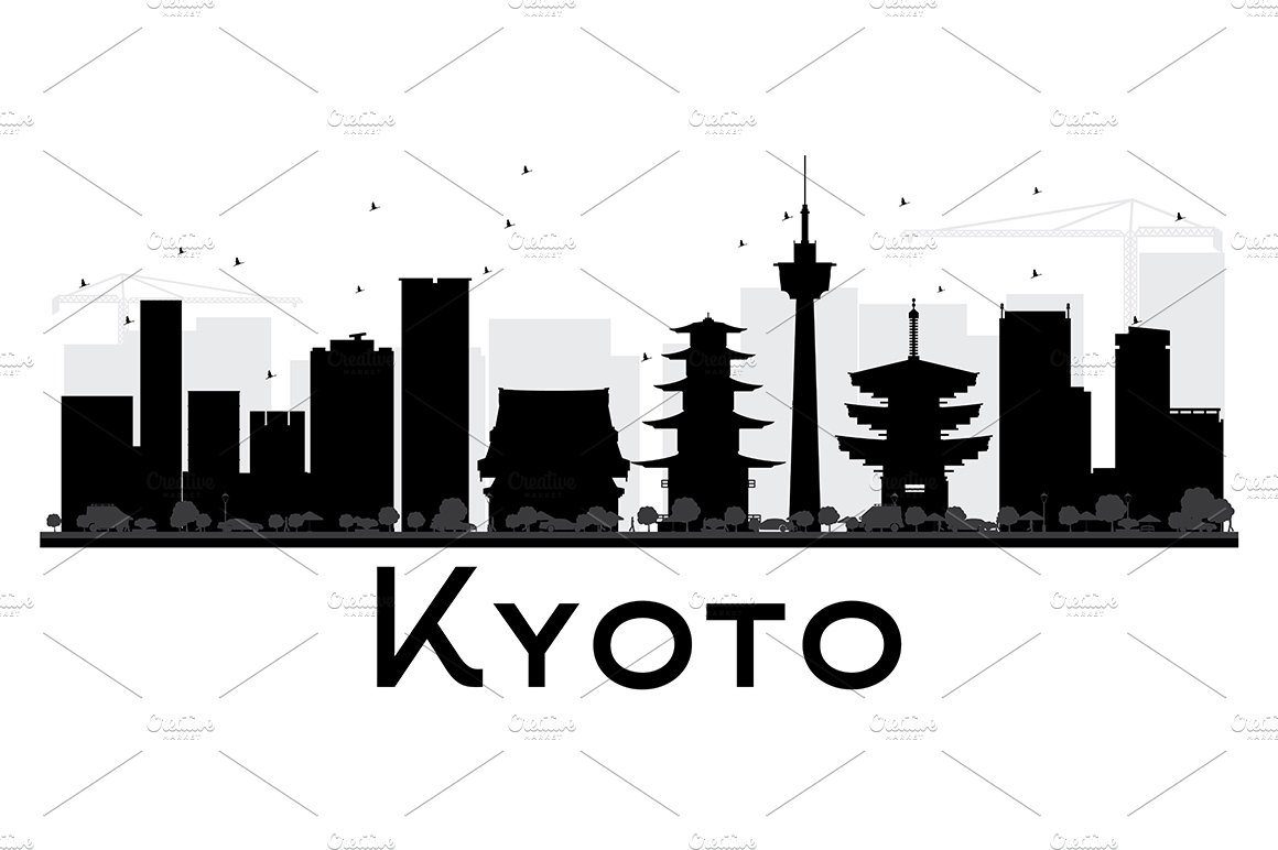 Kyoto City Skyline Silhouette Illustrations Creative