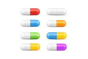 Different Colours Pills Capsules Set