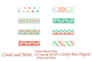 Coral n Mint Digital Washi Tape