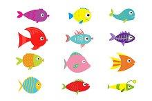 Cute fish set
