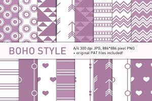 Boho-style orchid pattern set