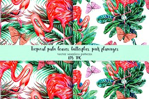 Flamingos,palm leaves patterns