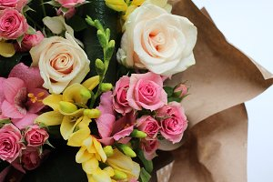 roses bouquet with freesias