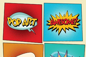 Set retro comic bubbles