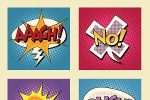 comic bubbles pop art phrases