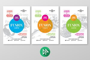 Fusion food poster template