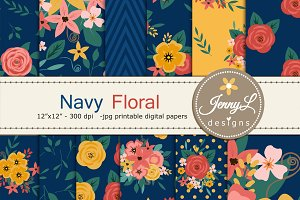 Navy Blue Flower Digital Paper
