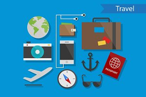 Travel Icons Flat Design Vector