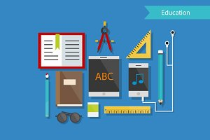 Education and Tools Flat Design