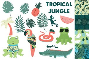 Tropical Jungle Clipart & Patterns