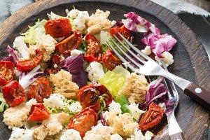Traditional italian panzanella salad
