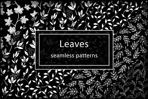 Black&White Leaves patterns set