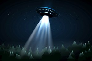 Flying UFO over night forest