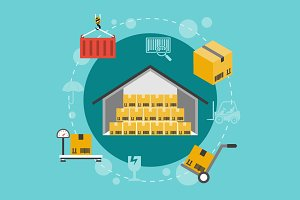 Warehouse flat illustration