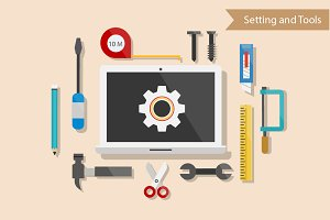 Setting and Tools Flat Design