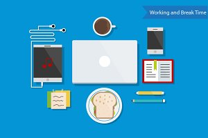 Working and Break Time Flat Design