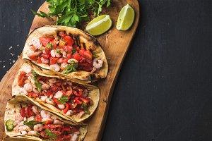 Shrimp tacos with homemade salsa