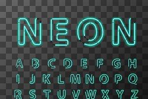 Bright realistic neon letters