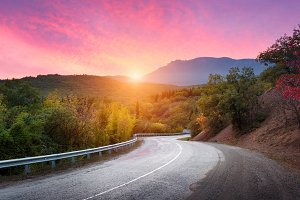 Mountain road at sunset