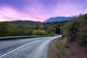 Road with motion blur effect