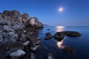 Night landscape at the sea