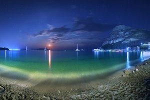 Night landscape at the seashore