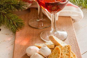 Traditional italian cookies served with wine