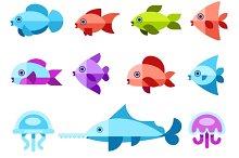 Flat marine animals & fishes icons