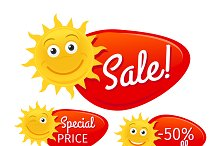 Summer sale labels with smiling sun