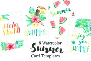 Tropical Card Templates Set