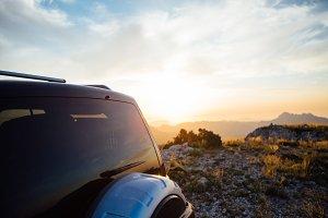 Car against the mountain Backlight