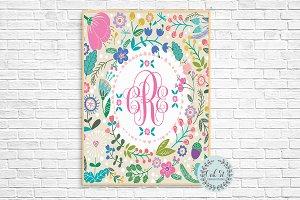 Floral Monogram Wall Print