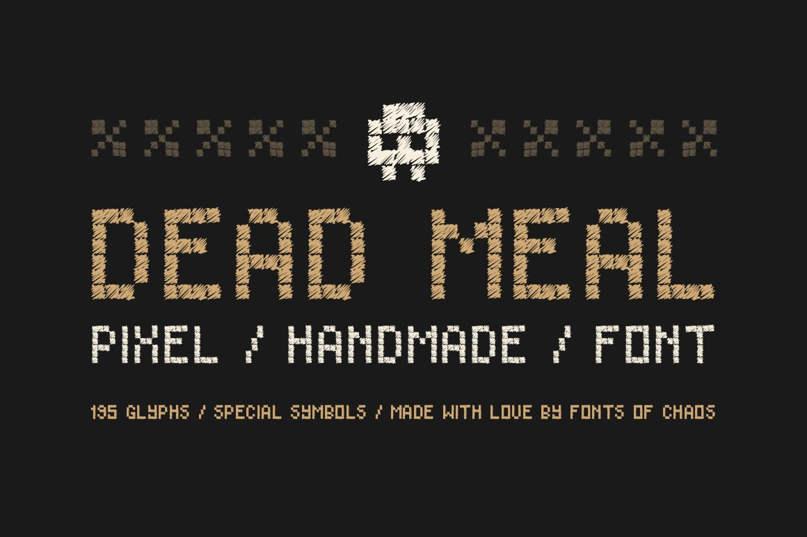 Dead Meal Hand Drawn Pixel Font Display Fonts