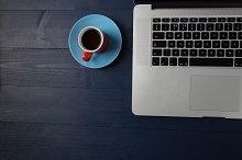 Coffee & computer on desk