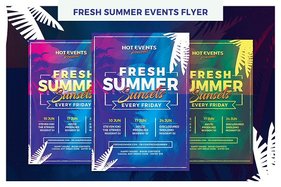 Fresh summer events flyer template flyer templates creative market fresh summer events flyer template flyers maxwellsz