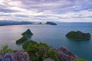 Tropical landscape over sea