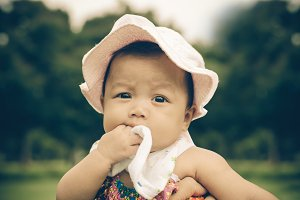 Portrait of wonder baby girl