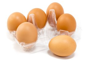 Fresh eggs in tray