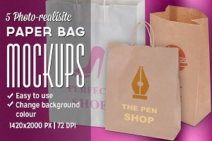 5 Photo-realistic Paper Bag Mockups