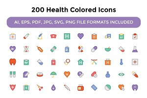 200 Health Colored Icons