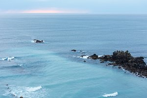 Sunset sea coast view.
