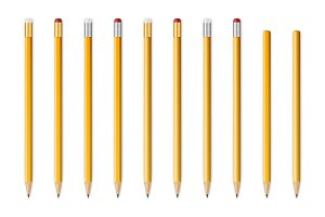Wooden sharp pencils. Big set.