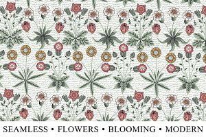 Seamless Flowers Background Modern