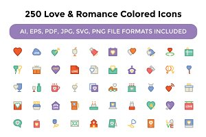 250 Love and Romance Colored Icons