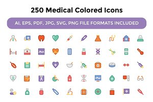 250 Medical Colored Icons